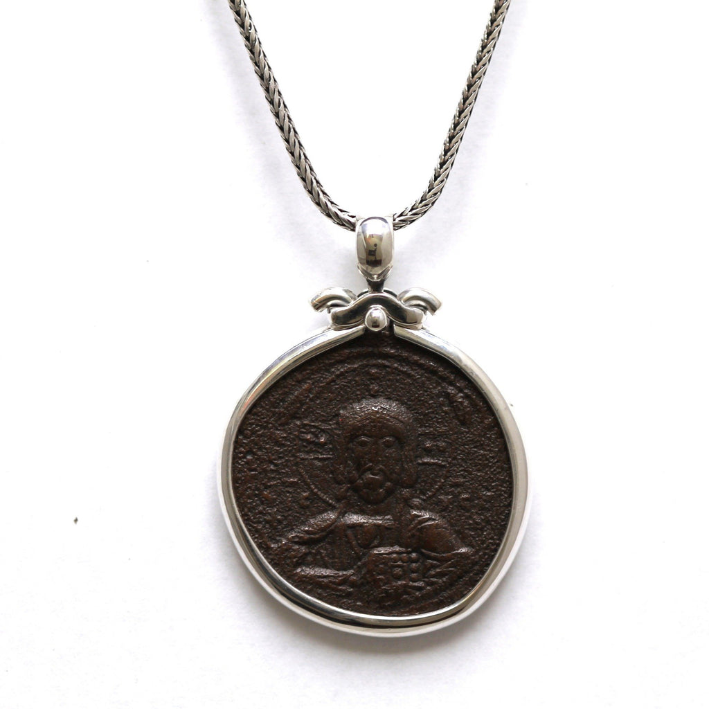 Sterling Silver Pendant, Anonymous Folles, Jesus Christ Portrait, Ancient Coin Jewelry 6801 - Erez Ancient Coin Jewelry, ancient coin jewelry, men jewelry, genuine ancient coins, made in the US