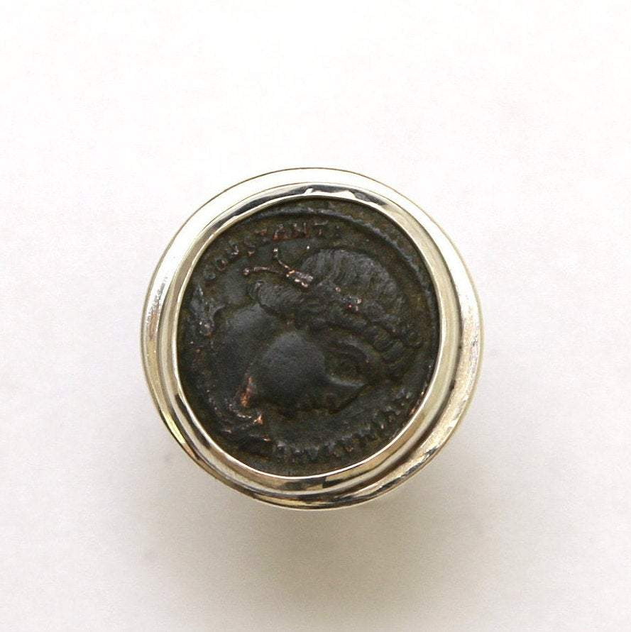 Sterling Silver Ring, Constantine the Great, Ancient Bronze Coin, 7029
