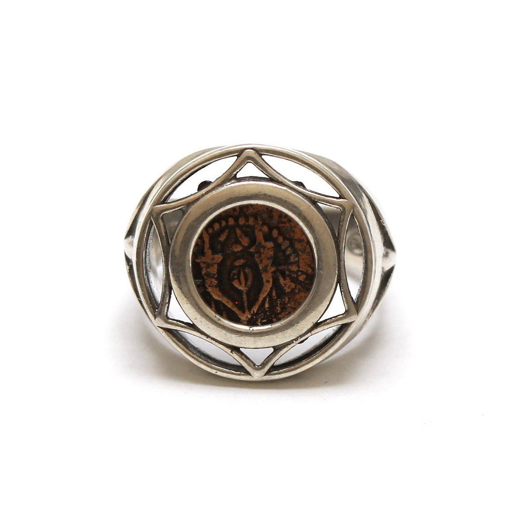 Sterling Silver Ring, Yehohanan Prutah Coin, 7054
