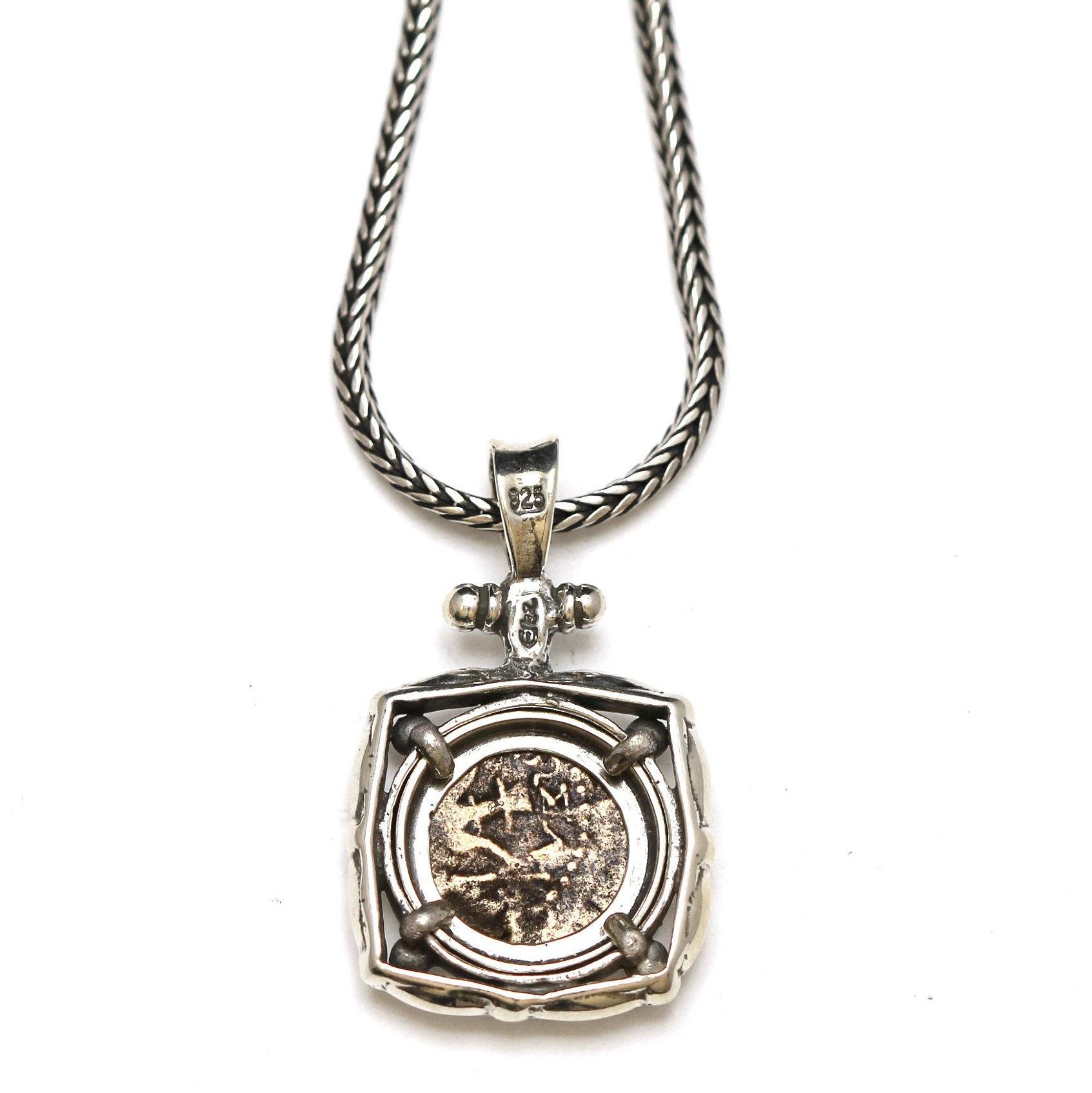 Sterling Silver Square Pendant, Widows Mite Prutah Coin, 7051
