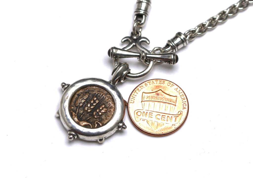 Sterling Silver Toggle Necklace, Ancient Judea, Cert. RM162 Z0002 - Erez Ancient Coin Jewelry, ancient coin jewelry, men jewelry, genuine ancient coins, made in the US