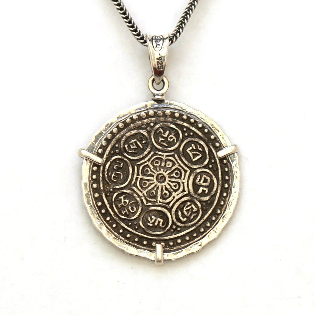 Tibetan Tangka Mantra Necklace, Sterling Silver, Tibetan Temple Coin RM149 - Erez Ancient Coin Jewelry, ancient coin jewelry, men jewelry, genuine ancient coins, made in the US