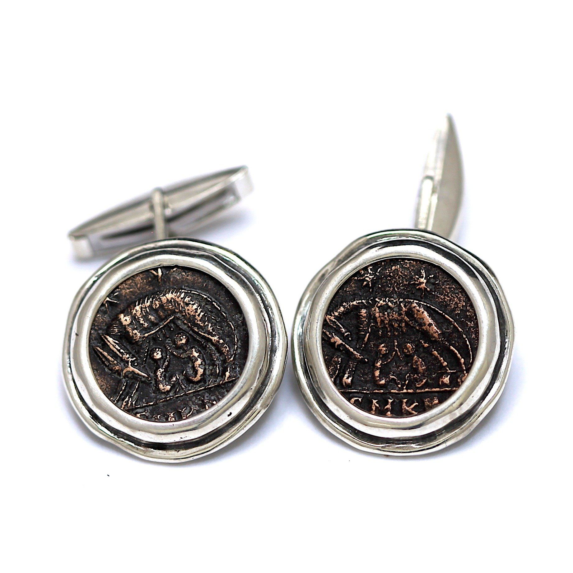 Urba Roma, Romulus and Remus, Roman Coins, Sterling Silver Cufflinks, Genuine Ancient Coins RC5 - Erez Ancient Coin Jewelry, ancient coin jewelry, men jewelry, genuine ancient coins, made in the US