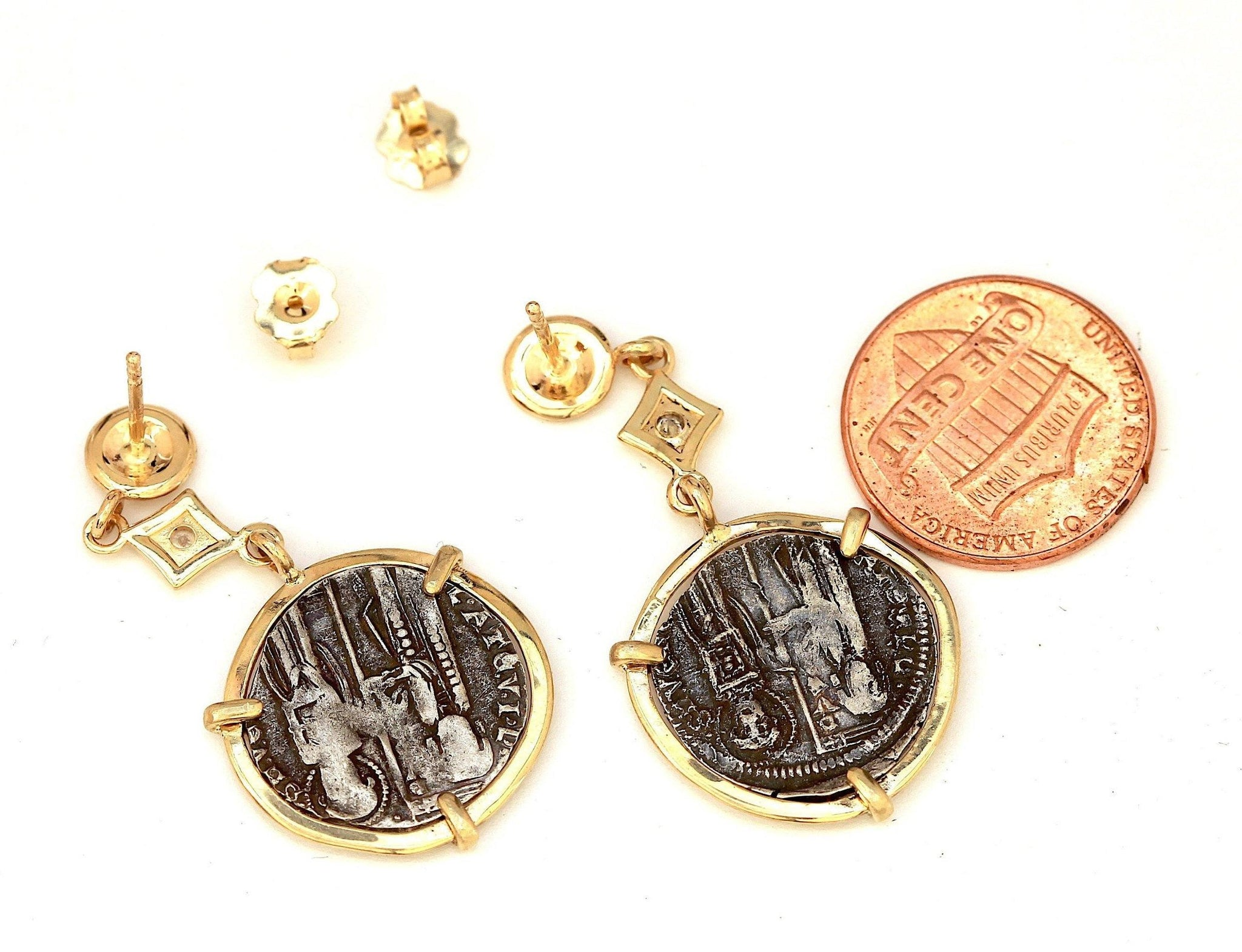 Venetian Grosso Coin Earrings, 14K Gold Post Earrings, Genuine Ancient Coin with Certificate 6321 - Erez Ancient Coin Jewelry