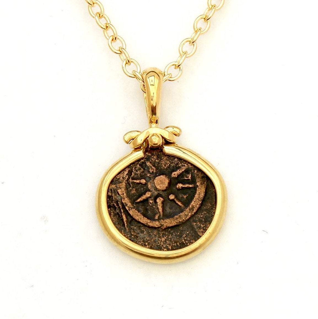 Widows Mite, 18K Gold Pendant, Genuine Ancient Coin, with Certificate8048 - Erez Ancient Coin Jewelry
