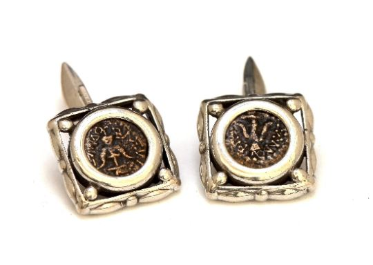Widows Mite, Anchor Up, Square Silver Cufflinks, Genuine Ancient Coin, with Certificate 6654 - Erez Ancient Coin Jewelry, ancient coin jewelry, men jewelry, genuine ancient coins, made in the US
