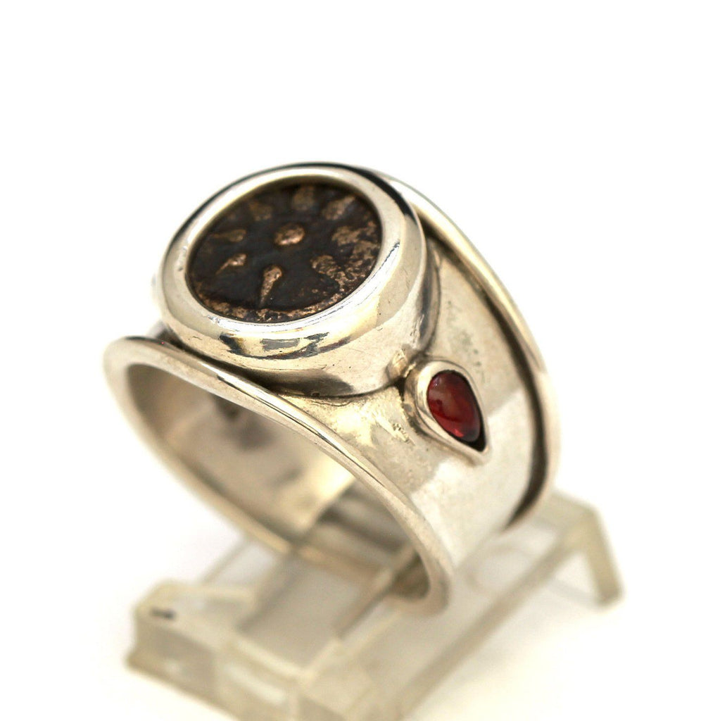 Widows Mite Coin, Silver Ring, Garnets, Genuine Ancient Coin, with Certificate 8016 - Erez Ancient Coin Jewelry, ancient coin jewelry, men jewelry, genuine ancient coins, made in the US