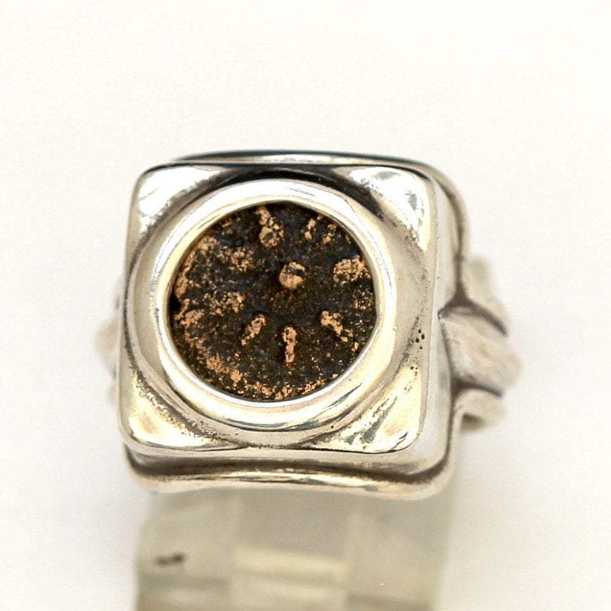 Widows Mite Coin, Square Silver Ring, Genuine Ancient Coin, with Certificate 8009 - Erez Ancient Coin Jewelry