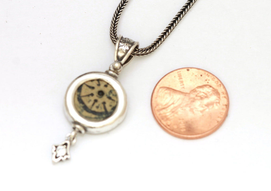 Widows Mite Con, Silver Pendant, CZ Accent, Genuine Ancient Coin, With Certificate 6494 - Erez Ancient Coin Jewelry