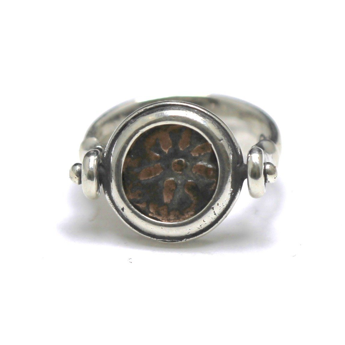 Widows Mite Flip Ring, Star Up, Sterling Silver, Genuine Ancient Coin, with Certificate  R83 - Erez Ancient Coin Jewelry