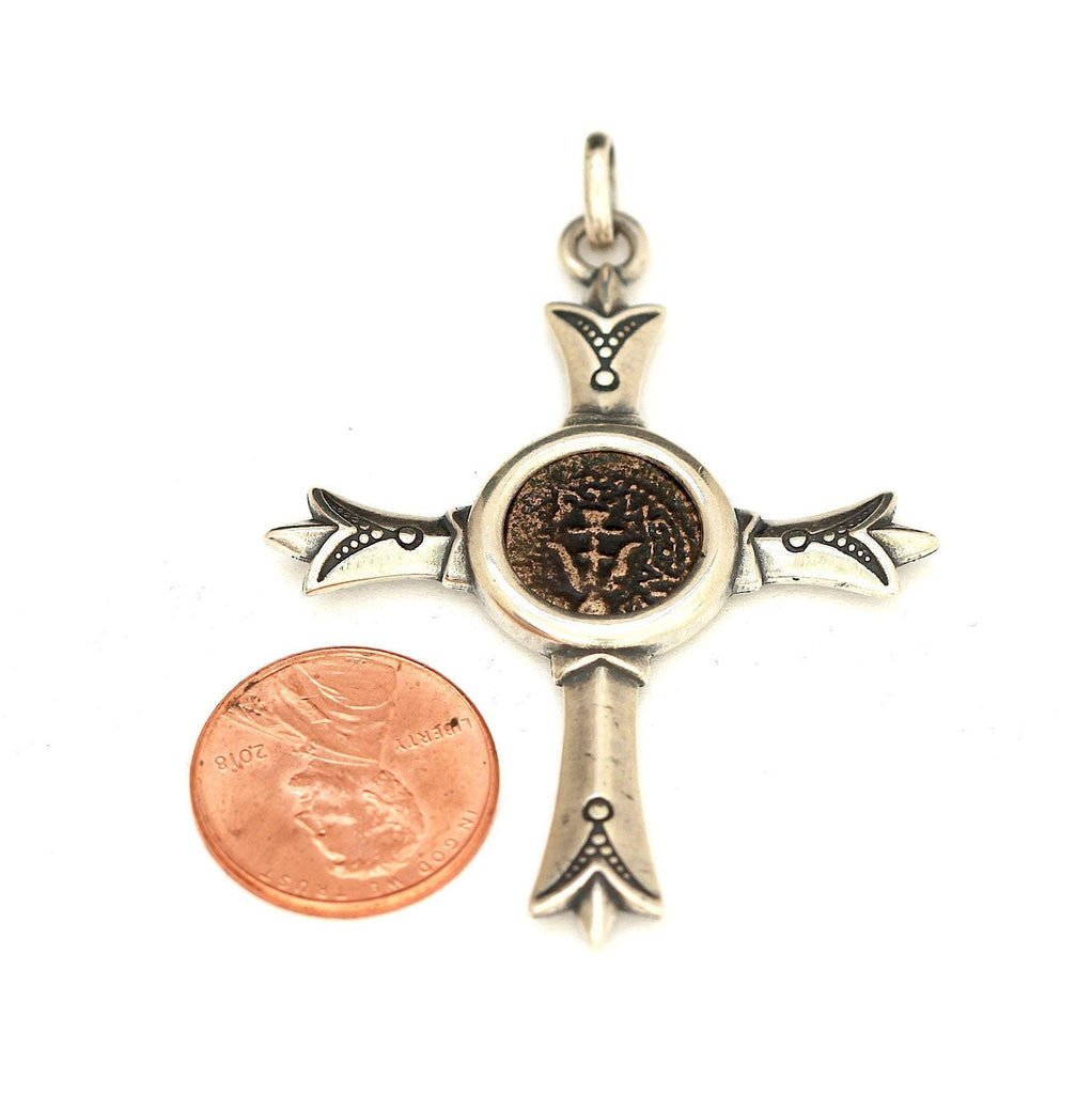 Widows Mite Jewish Coin, Anchor Side Up, Silver Cross Pendant, Genuine Ancient Coin with Certificate 8070 - Erez Ancient Coin Jewelry, ancient coin jewelry, men jewelry, genuine ancient coins, made in the US