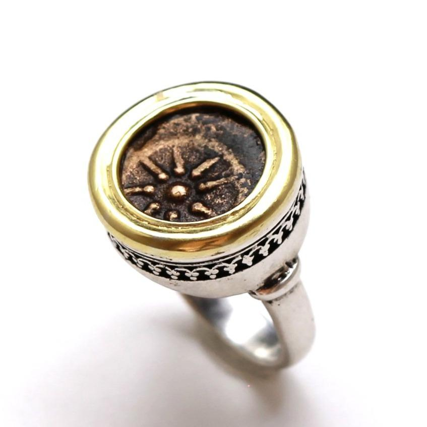 Widows Mite Ring, 14K Gold and Sterling Silver, Genuine Ancient Coin, with Certificate R9-W - Erez Ancient Coin Jewelry, ancient coin jewelry, men jewelry, genuine ancient coins, made in the US