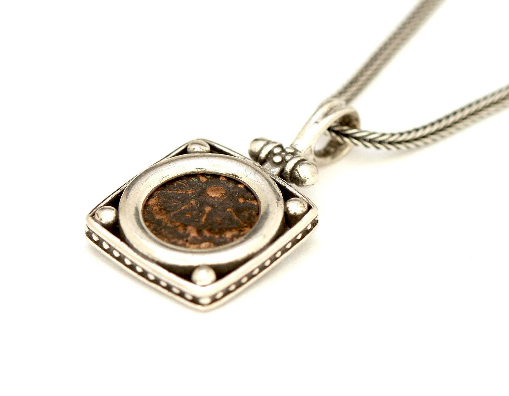 Widows Mite Silver Pendant, Genuine Ancient Coin, With Certificate 6492 - Erez Ancient Coin Jewelry, ancient coin jewelry, men jewelry, genuine ancient coins, made in the US