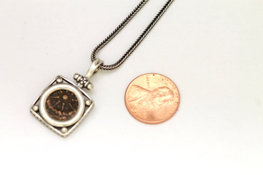 Widows Mite Silver Pendant, Genuine Ancient Coin, With Certificate 6492 - Erez Ancient Coin Jewelry