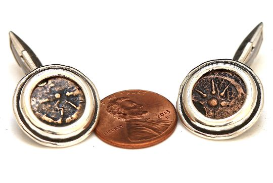 Widows Mite, Silver Round Cufflinks, Genuine Ancient Coin, with Certificate 6657 - Erez Ancient Coin Jewelry