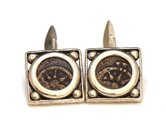 Widows Mite, Silver Square Cufflinks, Genuine Ancient Coin, with Certificate 6656 - Erez Ancient Coin Jewelry