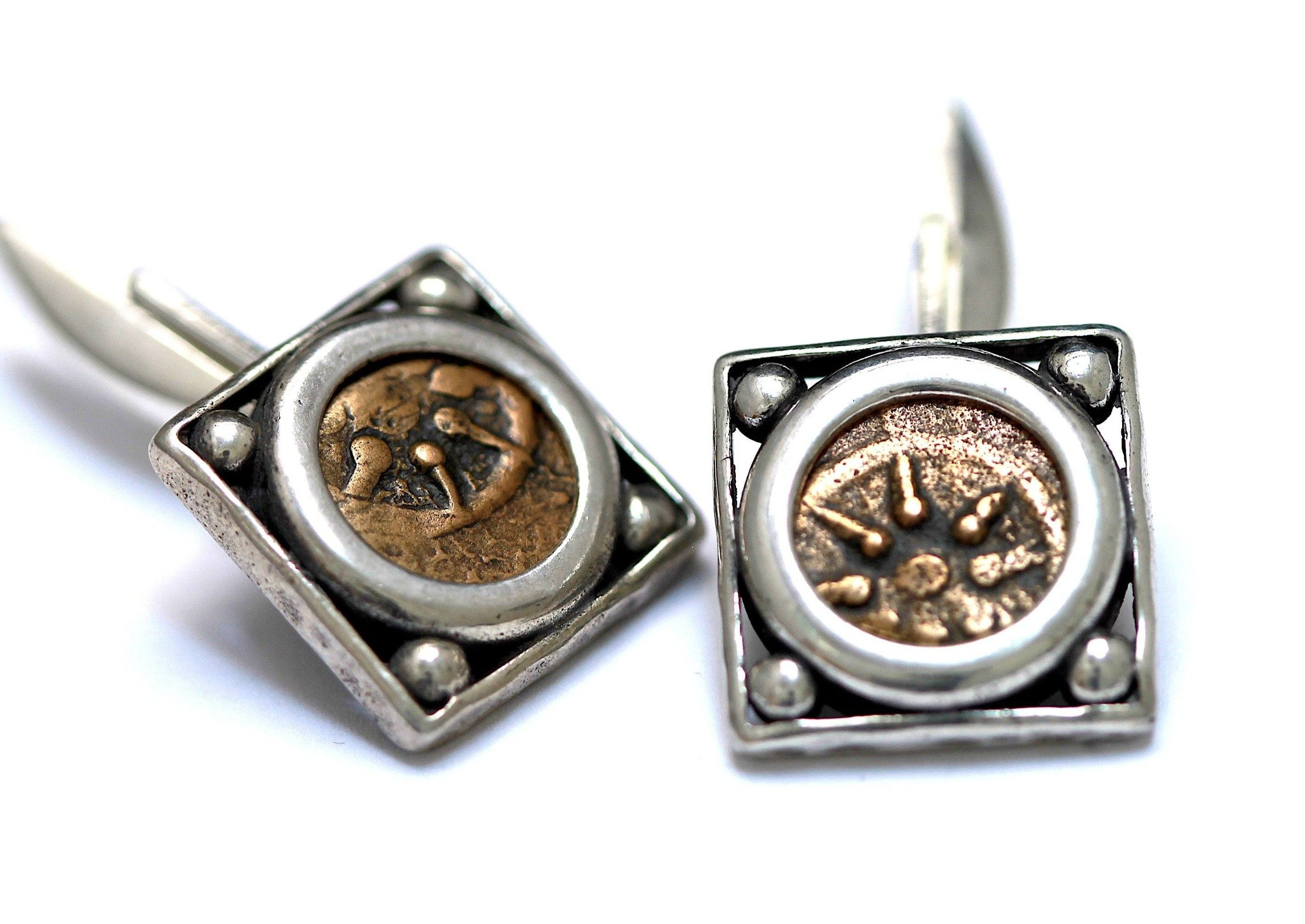Widows Mite, Star Up, Ancient Judaean Coins, Sterling Silver Cufflinks,  Genuine Ancient Coins, wth Certificate RC7-W - Erez Ancient Coin Jewelry, ancient coin jewelry, men jewelry, genuine ancient coins, made in the US