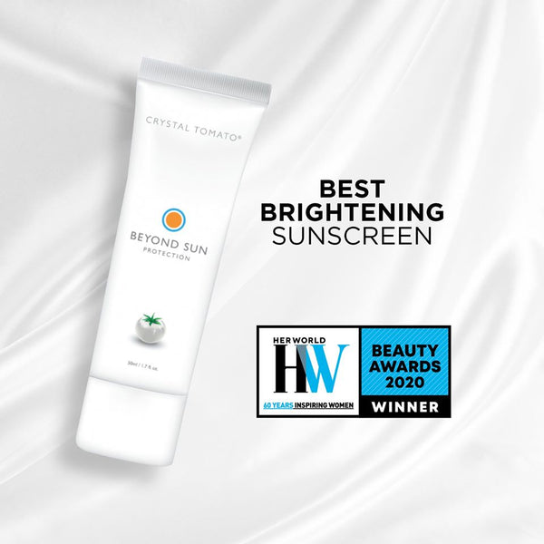 "Beyond Sun Protection by Crystal Tomato® was named ""Best Brightening Sunscreen"" in Her World's 2020 Beauty Awards"