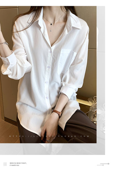 Long Sleeve Shirt for Women / Polo Collar Cardigan Casual Blouses - Lillie