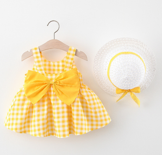 Cute Baby Girl Dresses  (Free Hat) - Lillie