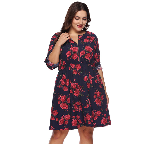 Floral Long Sleeve Dress / Plus size women dresses - Lillie