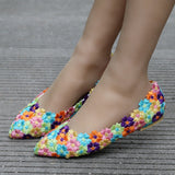 Women Flat Shoes / Colorful Flower Lace Flats Pointed Toe Shoes - Lillie
