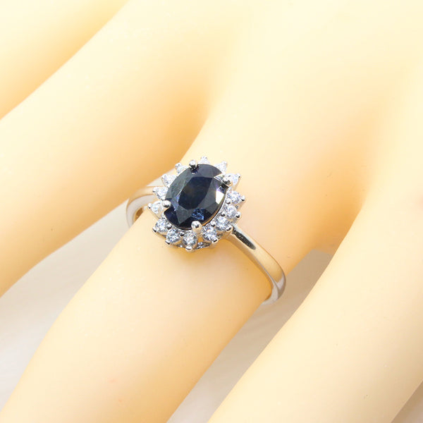 Real Sapphire Silver Ring / Natural Black Sapphire Ring for Lady - Lillie