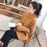 Turtleneck Sweater for Women / Pullover High Elasticity Knitted Ribbed female Jumper - Lillie