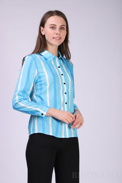 Chiffon fabric Long Sleeve Solid color Office Shirts / Blouses for women - Lillie