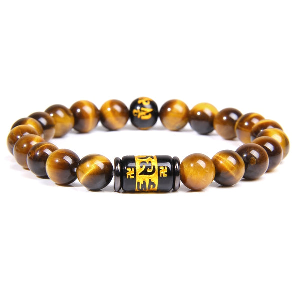 Natural Tiger Eye Beads Bracelet for Men /Women , Charm Tibetan Buddhism Mantra Totem Strand Bracelet - Lillie