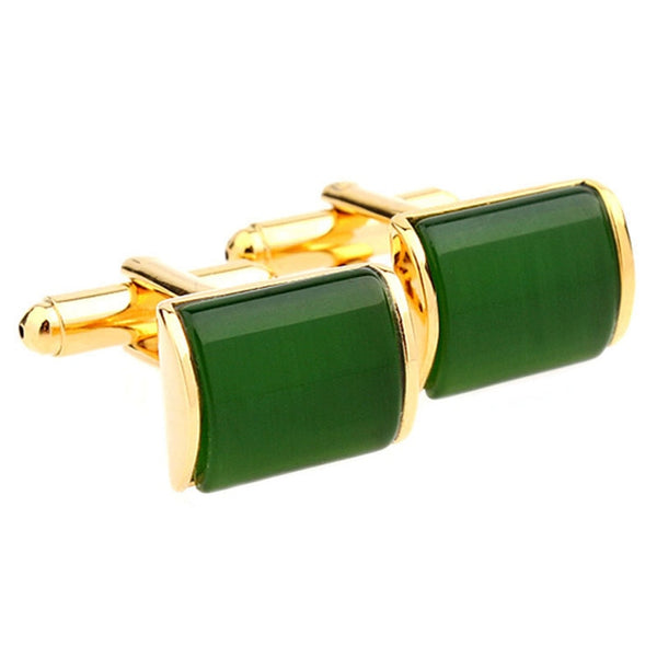 Romantic Green And Gold Cufflinks for Men - Lillie