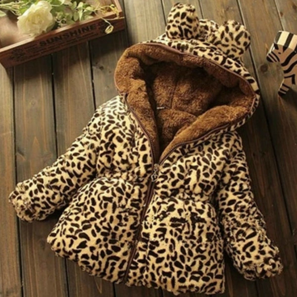 Girls Winter Jacket / Winter Cotton Baby Leopard Print Plus Thick Wool Sweater - Lillie