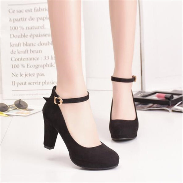 2020 Spring High Heels Women Pumps Platform Suede Shoes Women Ankle Strap Thick Heeled Ladies Shoes Comfortable Working Shoes - Lillie