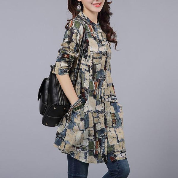 Casual Long Plus size Printed Shirt/Blouse for women - Lillie