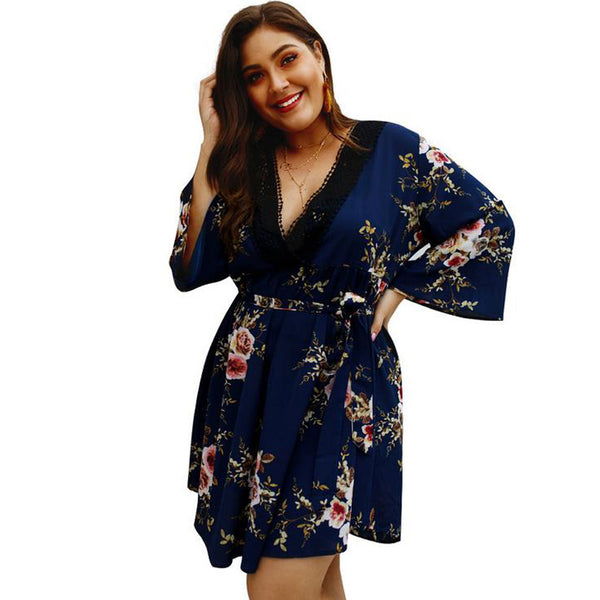Summer style Floral Print Dress for women/ Plus size print short dress for women - Lillie