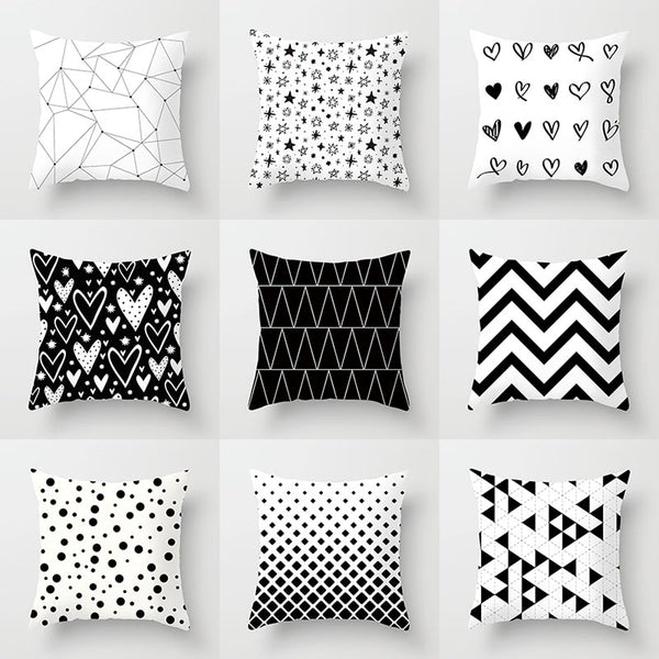 Striped Decorative Cushion covers / Black and White Geometric Decorative Pillowcases - Lillie