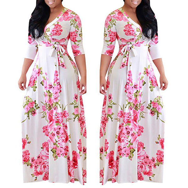 Floral Printed Long Women Dress/ Plus Size Maxi Print Dresses for Women - Lillie