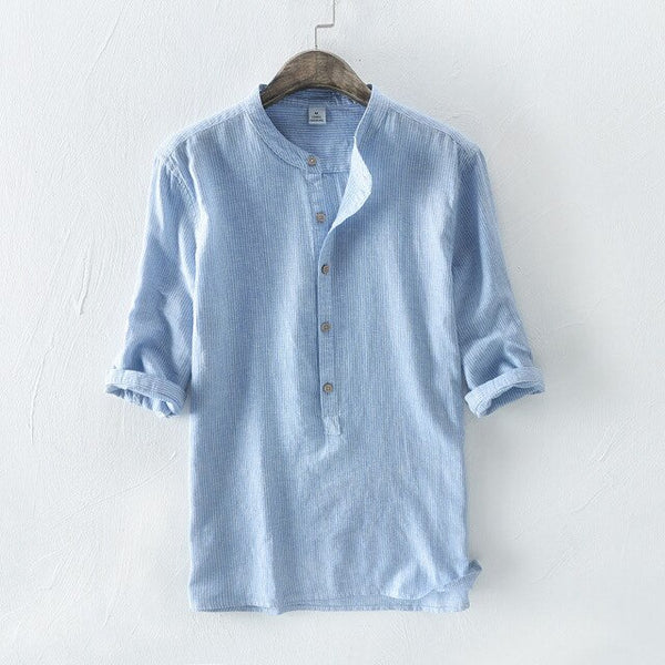 Men's Shirts / Linen Stand Collar Shirt - Lillie