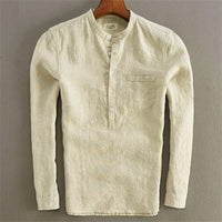 Summer Men's Vintage Pure Color Cotton Linen Male Shirts / Casual Button V-neck Long Sleeve Loose Tops - Lillie