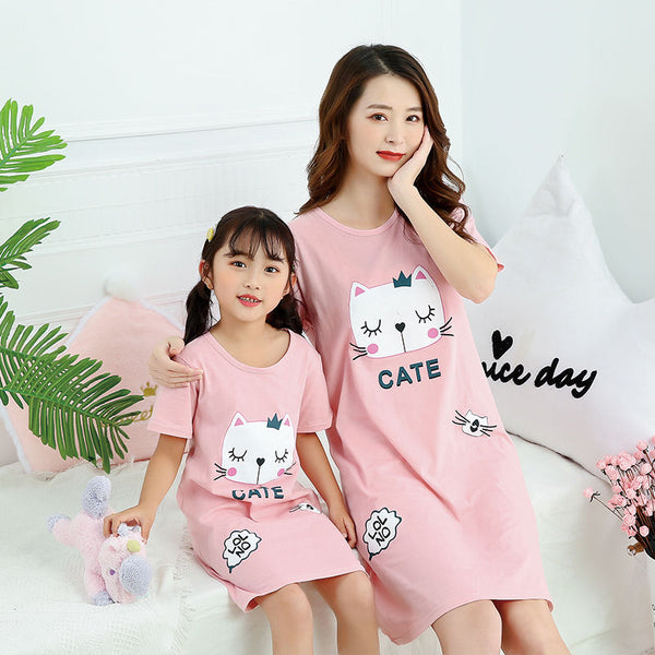 Girls Sleepwear /  Summer Girl's Nightgowns/  Pajamas Kids Short-sleeved Nightdress - Lillie