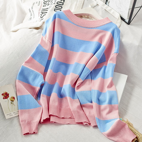 Striped Designed Knitted Women's casual Sweaters / Jumpers for Women - Lillie