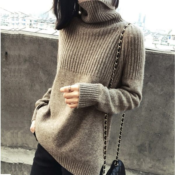 Women's Winter Sweaters / Pullover Turtleneck Solid Minimalist Elegant Office Lady Loose Tops - Lillie
