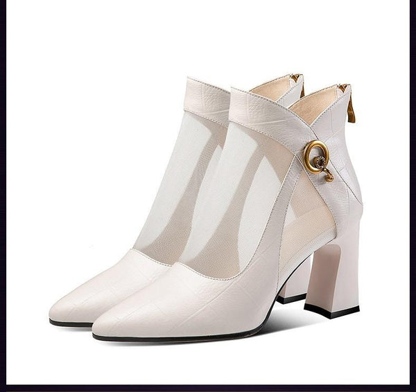 Women casual Sandal High Thick Heel / Sexy Zipper Toe Lady Shoes - Lillie