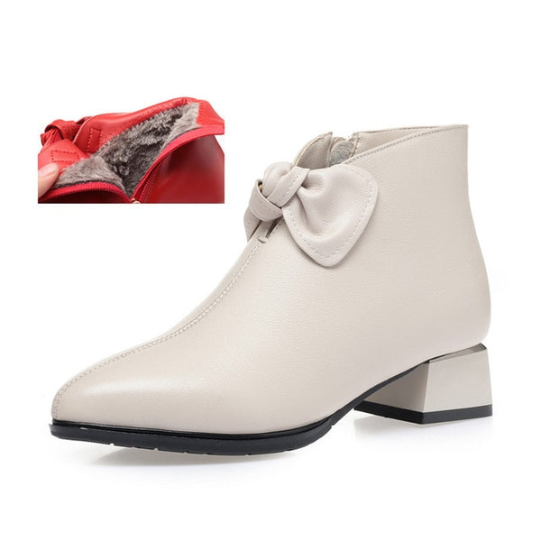 Genuine leather women ankle boots / Big size European and American pointed shoes - Lillie