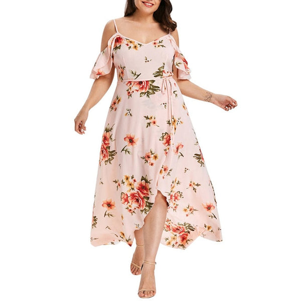 Floral print Plus Size Fashion Women Long Dress / Casual Sexy Summer Off Shoulder Dress - Lillie