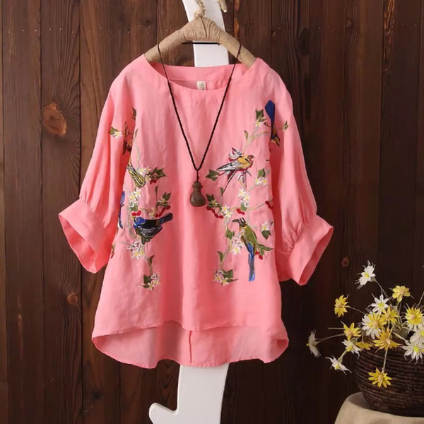 Embroidery Plus size Batwing Sleeve Women Shirt/Blouse - Lillie