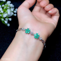Sterling Silver inlaid Natural Emerald Female Bracelet - Lillie