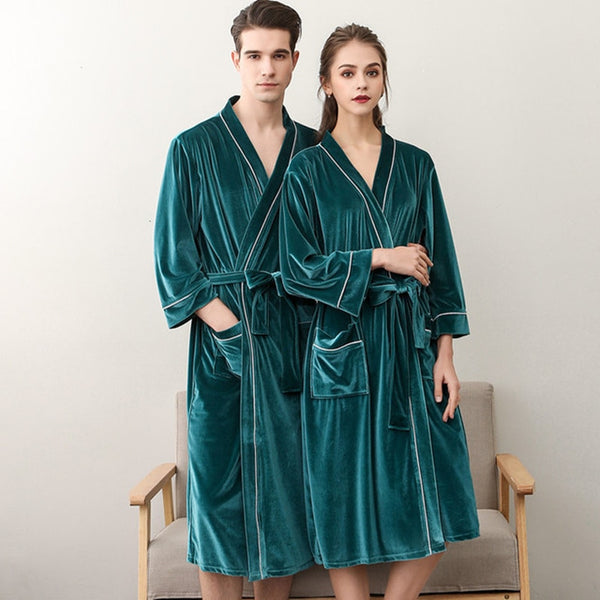 Bath Coral Velvet Warm Robe Sleepwear Home Clothes/Couple Robes/Sleepwear - Lillie