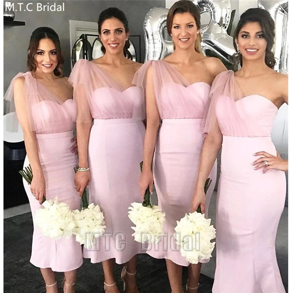 Short Dusty Pink Bridesmaid Dresses / Plus Size Wedding Party Gowns - Lillie