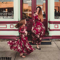 Mother and Daughter Casual Long Sleeve Maxi Dress / Mommy&Me Matching Outfits - Lillie